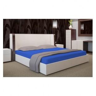 Jersey posteľná plachta s gumičkou v kráľovskej modrej farbe