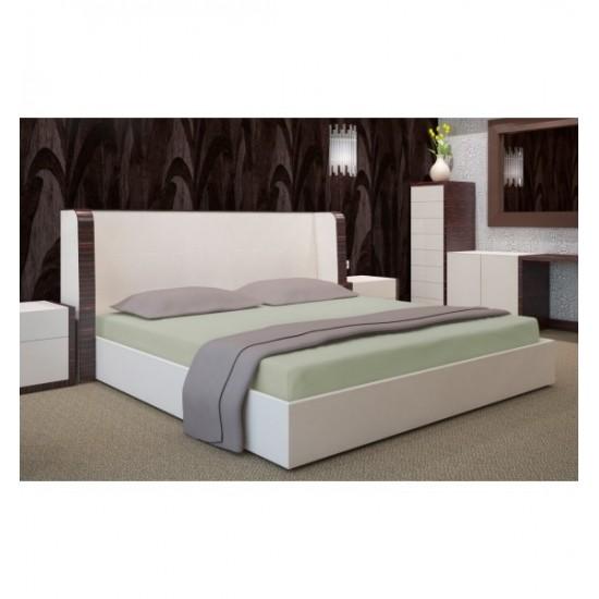 Olivová jersey posteľná plachta s gumičkou