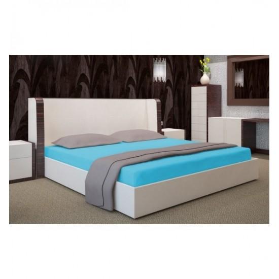 Kvalitná jersey posteľná plachta tyrkysová s gumičkou