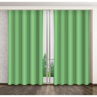 Moderný zelený jednofarebný záves na kruhy