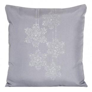 Sivá dekoračná obliečka na vankúš s vianočným vzorom