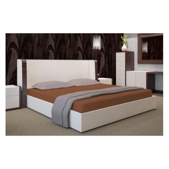 Hnedá jersey posteľná plachta s gumičkou