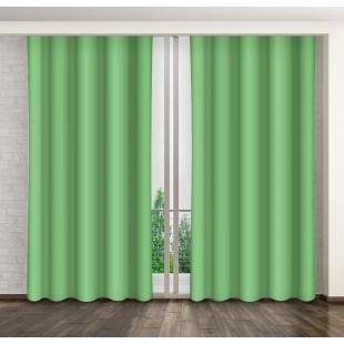 Zelený jednofarebný záves s riasiacou páskou
