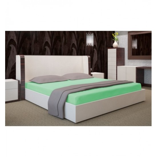Zelená jersey posteľná plachta s gumičkou