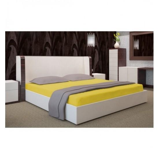 Žltá jersey posteľná plachta s gumičkou