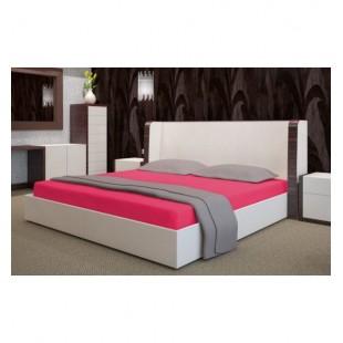 Tmavoružové froté posteľné prestieradlo s gumičkou