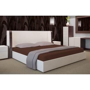Hnedé mikrovláknové posteľné prestieradlo bez napínacej gumičky