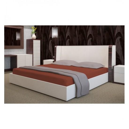 Hnedé froté posteľné prestieradlo s gumičkou