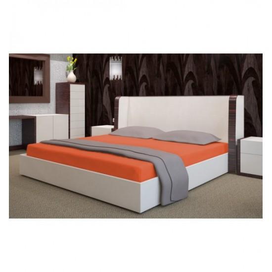 Tehlová posteľná froté  plachta s gumičkou