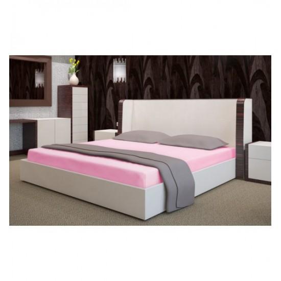Ružová posteľná froté  plachta s gumičkou