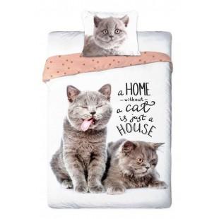 Biele posteľné obliečky s mačičkou a nápisom