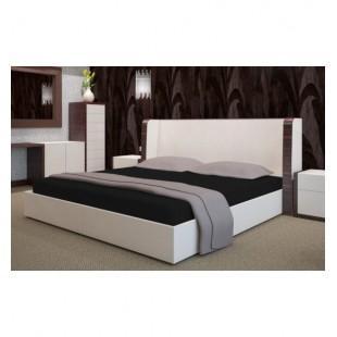 Čierne froté posteľné prestieradlo s gumičkou
