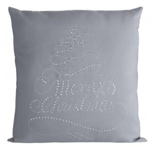 SIvá obliečka na dekoračný vankúšik Merry Christmas