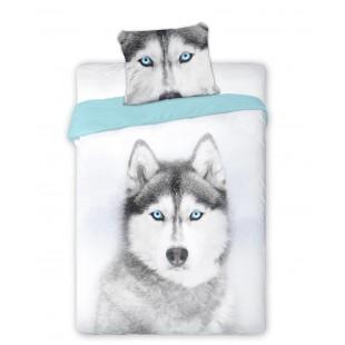 Bavlnená posteľná obliečka so vzorom husky