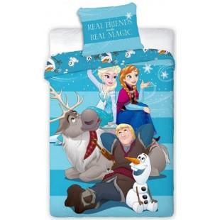 Bavlnená modrá posteľná obliečka s motívom Frozen