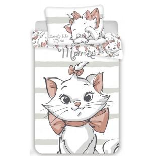 Biela bavlnená posteľná obliečka pre deti s mačičkou