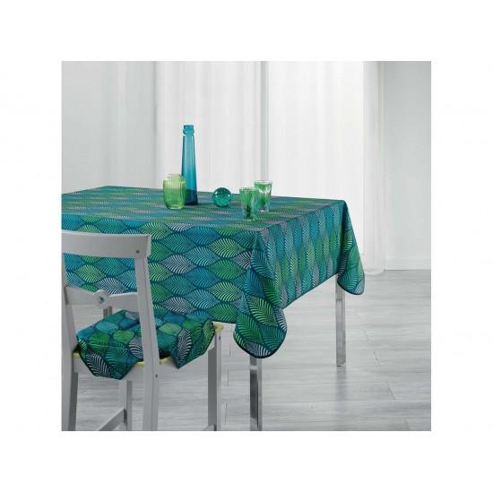 Zeleno modrý kuchynský obrus so vzorom listov
