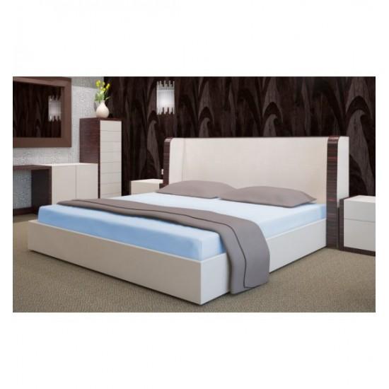 Svetlo modré froté posteľné prestieradlo s gumičkou