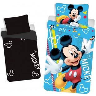 Bavlnená modrá svietiaca posteľná obliečka Mickey