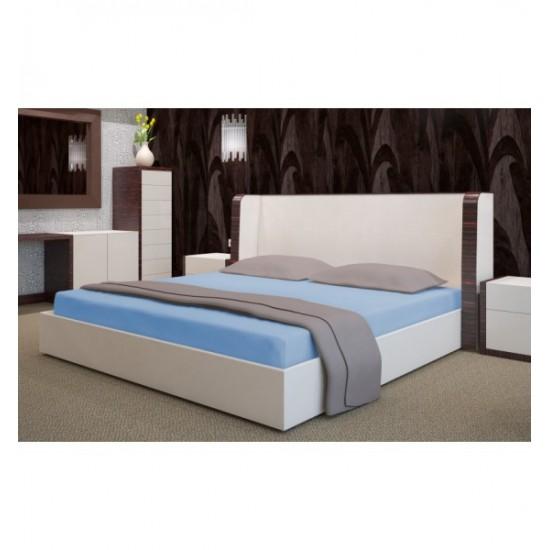 Modré froté posteľné prestieradlo s gumičkou