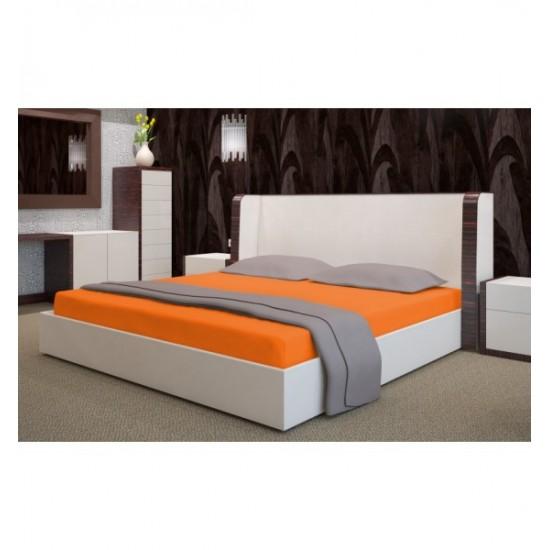 Oranžové froté posteľné prestieradlo s gumičkou