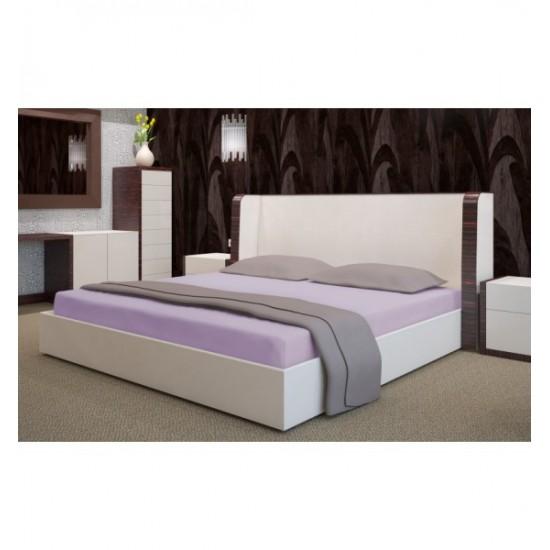 Mäkké  svetlo fialové posteľné froté prestieradlo s gumičkou