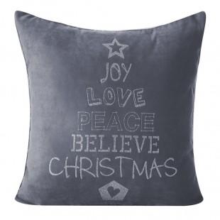 Zamatová sivá obliečka na dekoračný vankúš s vianočným motívom Christmas