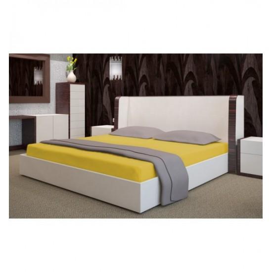 Žltá posteľná froté plachta s gumičkou