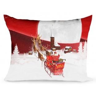 Červená obliečka na dekoračný vankúš so sobmi a Santom