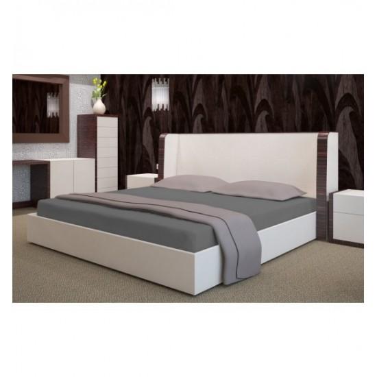 Froté posteľná plachta s gumičkou v tmavosivej farbe
