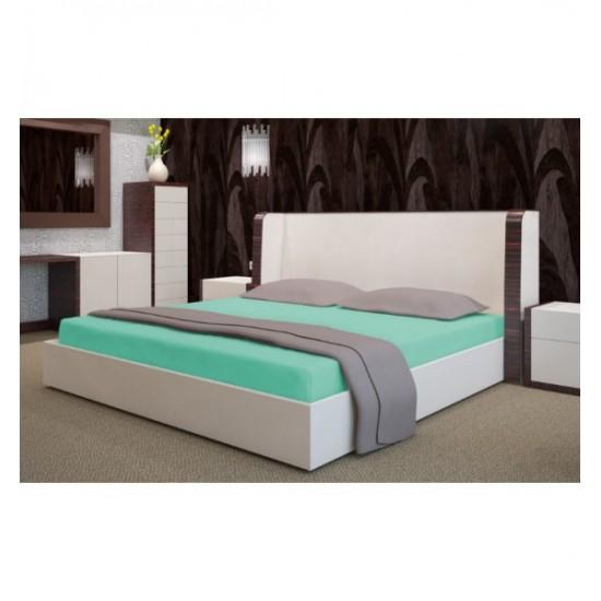 Svetlo tyrkysová froté posteľná plachta s gumičkou