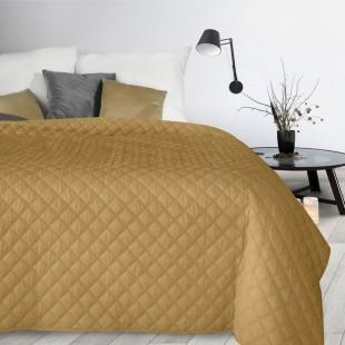Žltý jednofarebný zamatový prehoz na posteľ