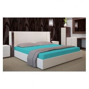 Tyrkysová posteľná plachta zo saténovej bavlny bez gumičky