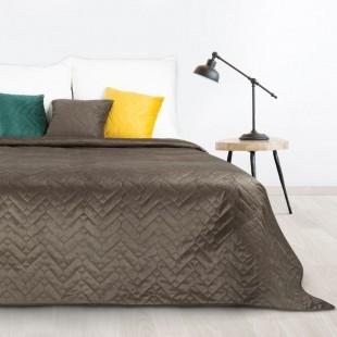 Hnedý mäkký obojstranný prehoz na posteľ