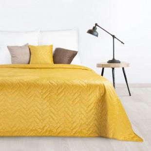 Žltý mäkký obojstranný prehoz na posteľ