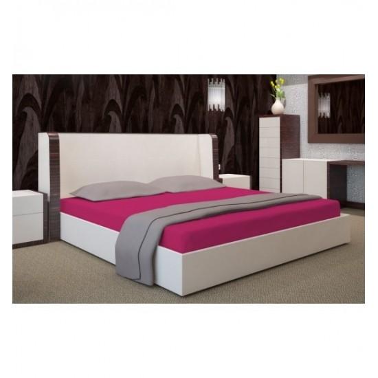 Cyklamenová posteľná plachta zo saténovej bavlny bez gumičky