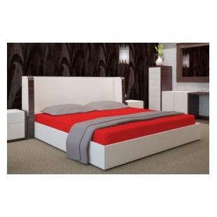 Červená posteľná plachta zo saténovej bavlny bez gumičky