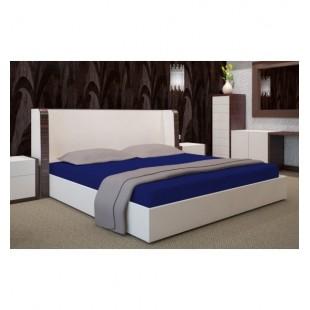 Tmavomodrá posteľná plachta zo saténovej bavlny bez gumičky