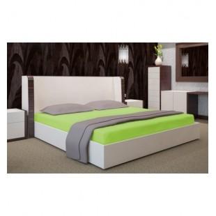 Posteľná plachta zo saténovej bavlny bez gumičky v jablkovo zelenej farbe