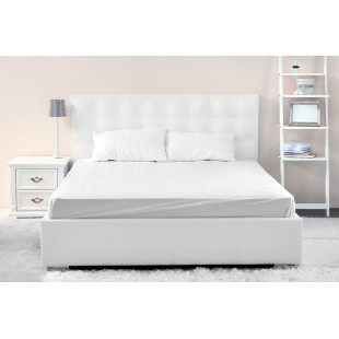 Mikrovláknové biele posteľné prestieradlo s napínacou gumičkou