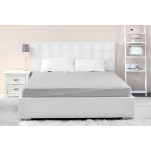 Mikrovláknové sivé posteľné prestieradlo s napínacou gumičkou