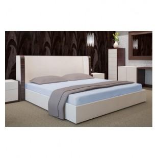 Svetlomodrá posteľná plachta zo saténovej bavlny bez gumičky