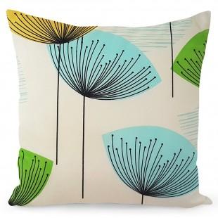 Béžová obliečka na dekoračný vankúš s rastlinným vzorom