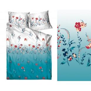 Bavlnené elegantné modré posteľné obliečky s kvetmi