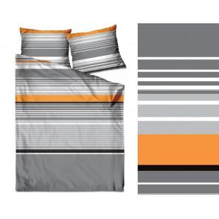 Bavlnené pásikavé sivé posteľné obliečky