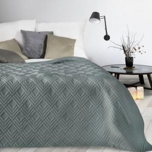 Tmavosivý mäkký prehoz na posteľ so vzorom