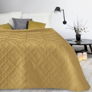 Žltý mäkký vzorovaný prehoz na posteľ