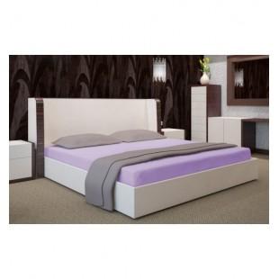 Svetlo fialová posteľná plachta zo saténovej bavlny bez gumičky