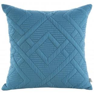 Modrá obliečka na dekoračný vankúš so vzorom