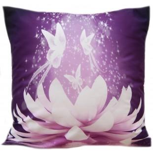 Fialová obliečka na dekoračný vankúš s kvetinovým vzorom